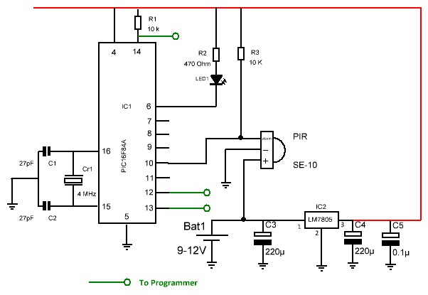 PIC Detector PIR SE 10 on wiring diagram for alarm pir