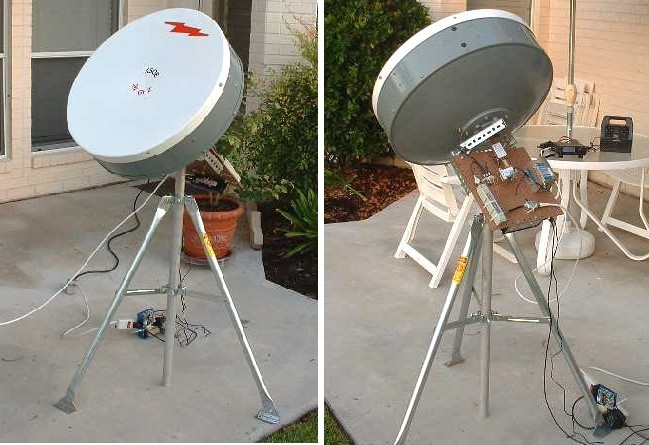 Figure 11 completed dish and receiver set up for real s band and